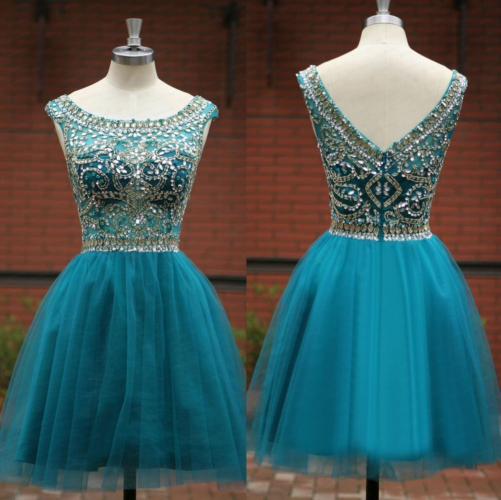 Luxury crystals beaded cocktail homecoming dress short prom evening