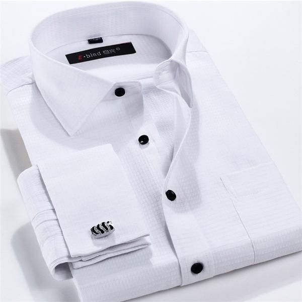 French Cufflinks Shirts 2017 Long Sleeve Slim Fit French