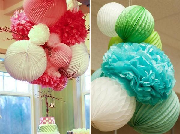 C mo decorar fiestas con pompones de papel fiestas - Decoracion con pompones ...