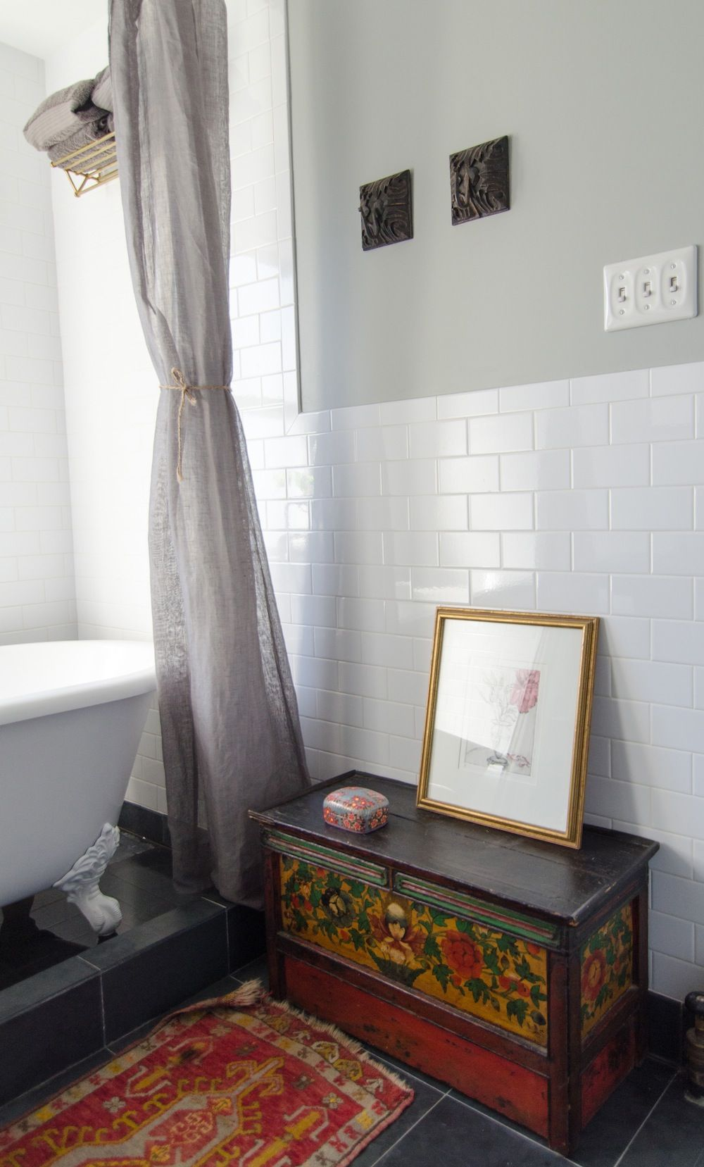 option 1 for how to finish the subway tile at half wall & side of ...