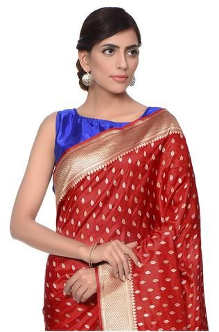 661aa40152 Kadhwa banarasi saree with traditional sona rupa booti woven in ektara  weaving