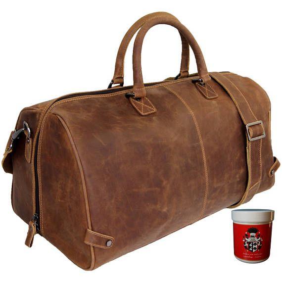 d112fe63e3b5a Henry Reisetasche Weekender Sporttasche Fitnesstasche Vintage Braun Leder
