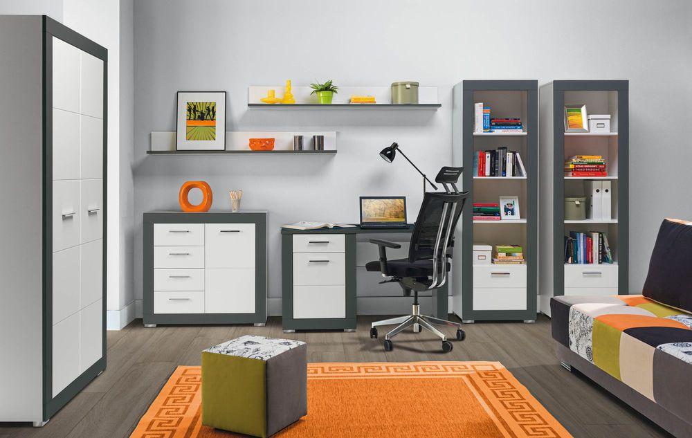GREY5 home office teenager children bedroom furniture set white matt