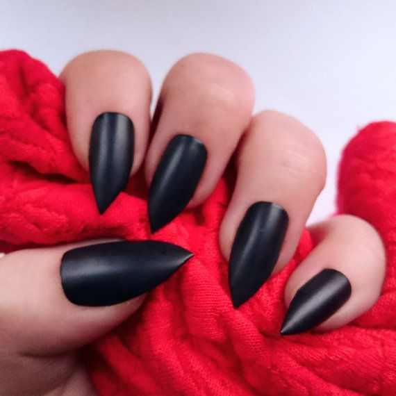 Matte Black Nails / Black Stiletto Nails / Matte Nails / Press On ...