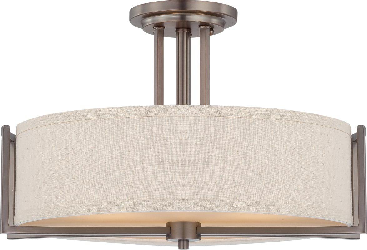 Nuvo Lighting 60/4858 Gemini 3 Light Semi-Flush Indoor Ceiling Fixture - 18.375 Hazel Bronze Indoor Lighting Ceiling Fixtures Semi-Flush