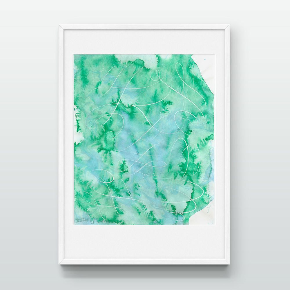 Marbled Calligraphic I  |  Hand-made marbled paper with blue and green Japanese oil-based inks. White calligraphy on top layer. Original by Stephanie Fishwick.