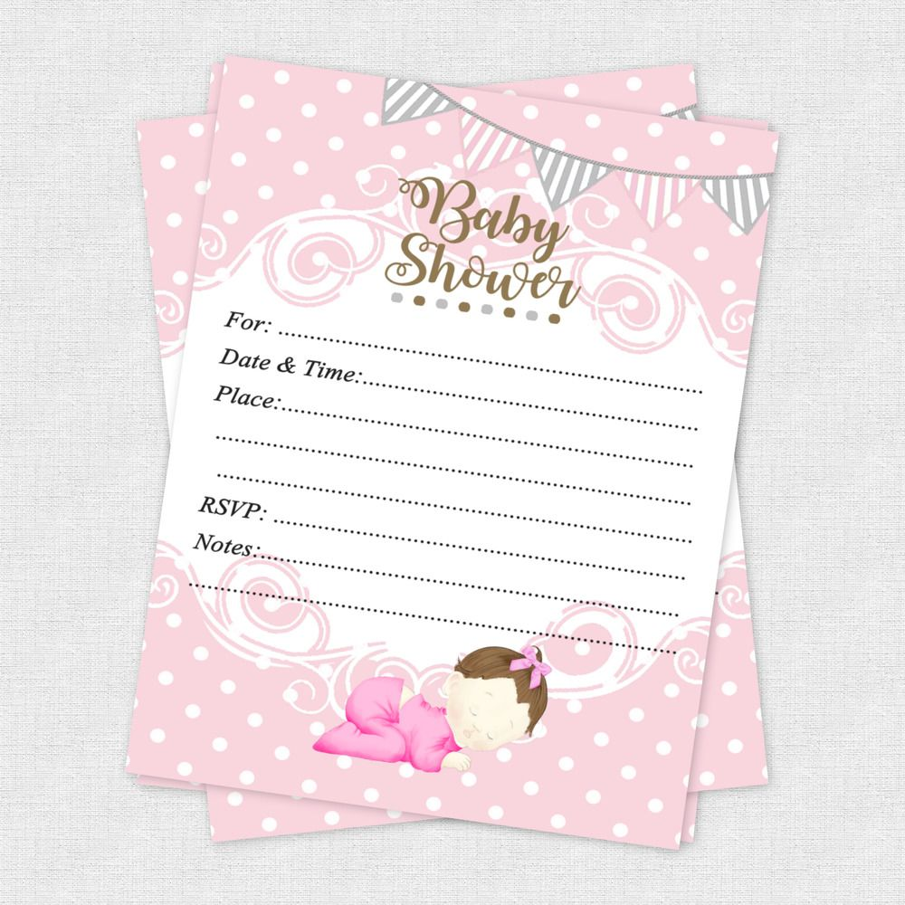 20 Girl Baby Shower Invitations Cards Invites Decorations Pink Gray ...