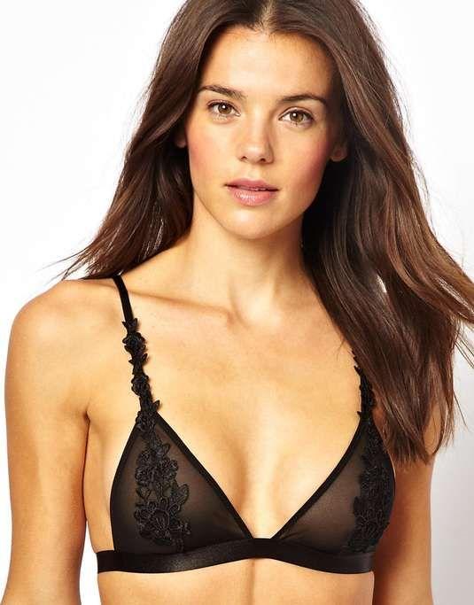 ASOS Boudoir Applique Lace Overlay Soft Triangle Mesh Bra $30 #BestGiftEver #sexybits