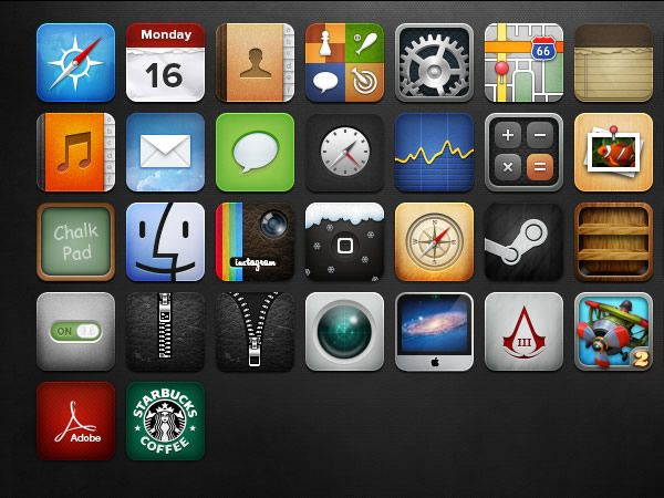 iOS图标个个都是PSD源文件   蓝调设计