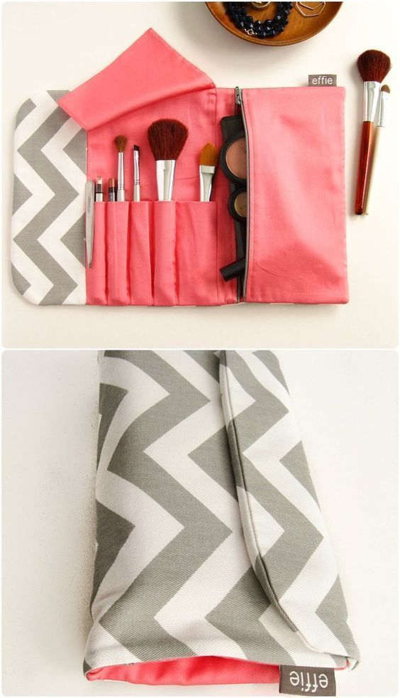 Travel Make-Up Organizer. Combined Makeup Bag & Brush Roll in Grey Chevron. Trav -