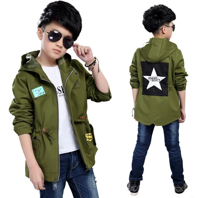 2f672a3b809c0 Teenage Boys Jackets Army green Hooded Coats For Boys Children ...