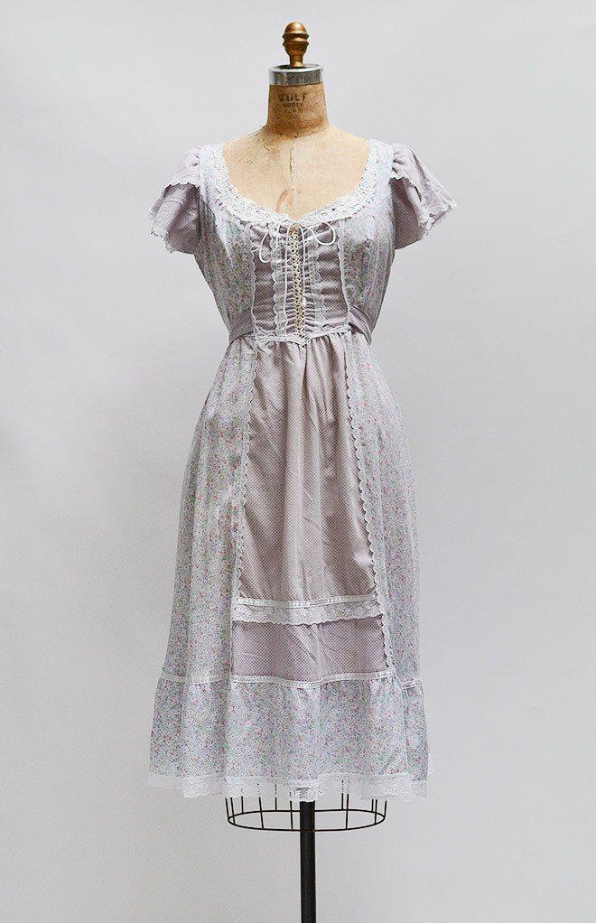 Maiden Spring Dress Vintage 1970s Boho Dress 70s