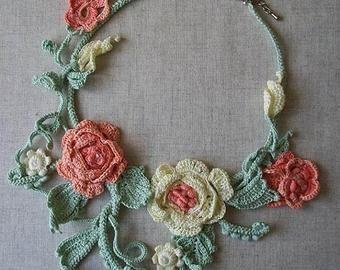 Irish lace, crochet flowers jewelry, bags, accessories by Tanita777