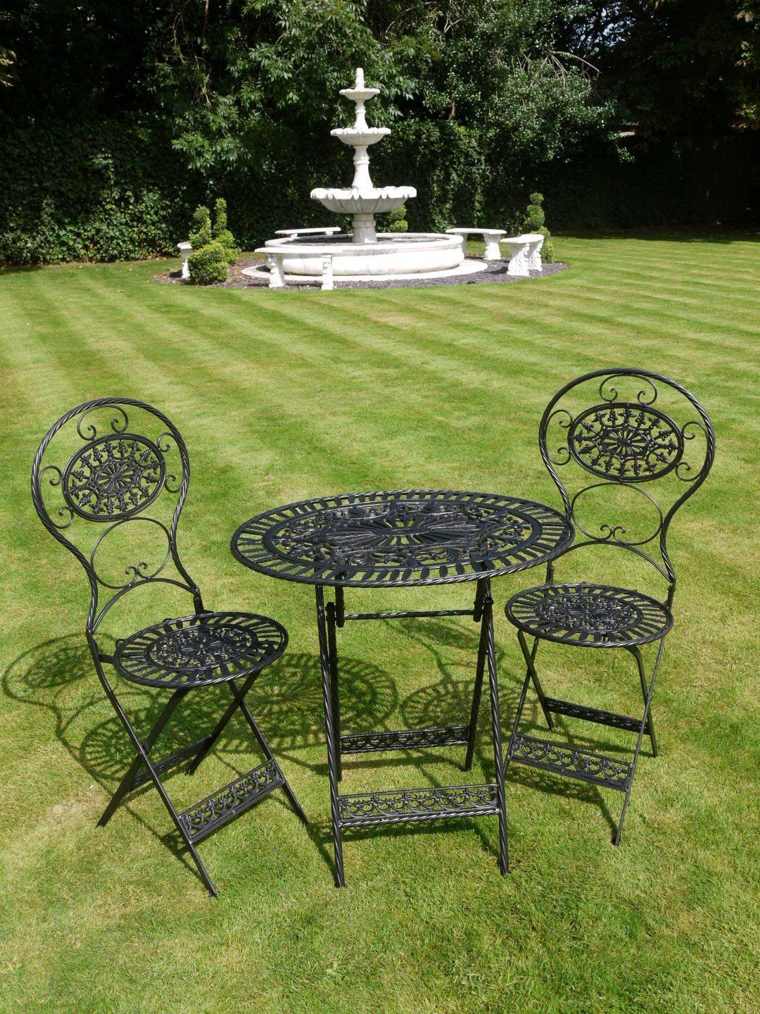 Black Wrought Iron 3 Piece Bistro Style Garden Patio Furniture Set Co Uk Outdoors