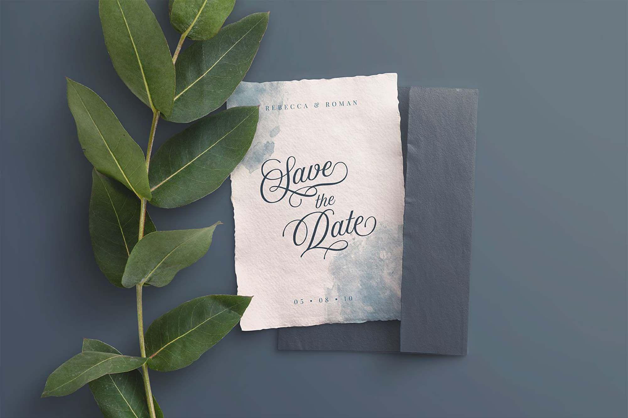 Free Wedding Invite And Envelope Mockup Psd