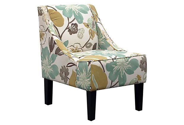 Fletcher Swoop-Arm Chair, Green/Cream on OneKingsLane.com