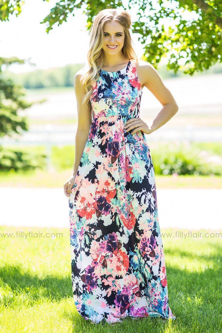 Neon floral printed racer back maxi dress with pockets products