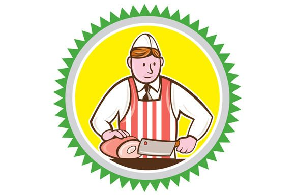 Butcher Chopping Ham Rosette Cartoon Poster Design Inspiration