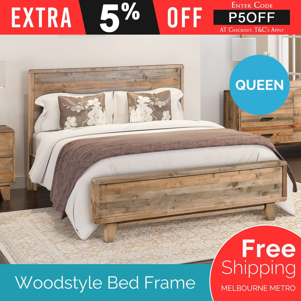 Bed Frame Queen Size Pine Wood Antique Light Brown Colour Strong