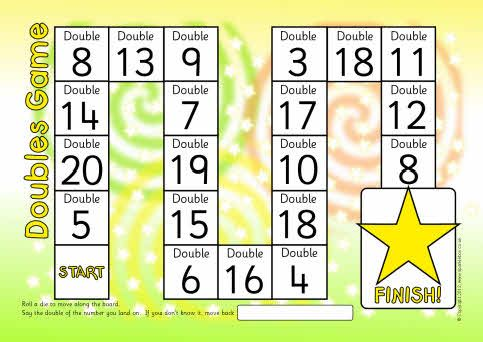 Doubles/doubling board game (to double 20) | Math | Pinterest ...