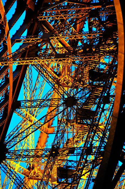 The Eiffel Tower iron lattice stairs - Paris France by mbell1975, via Flickr
