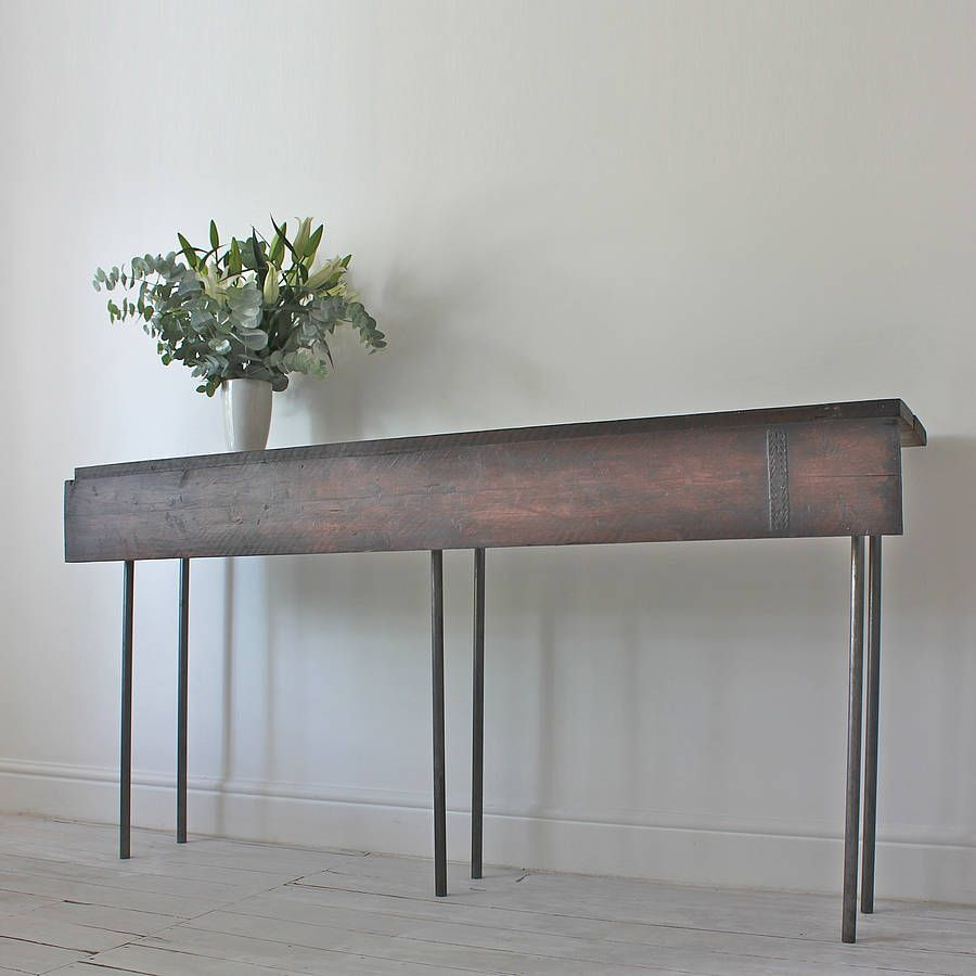 Reclaimed Console Table With Hinged Drop Leaf Drop Leaf Table
