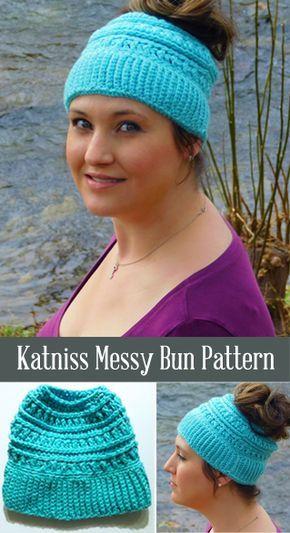 Free Messy Bun Katniss Hat Pattern Crochet Beanie 1b3f73262c3