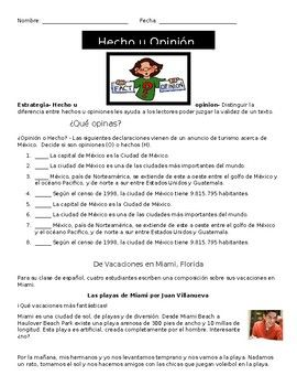 Hecho vs. Opinion Fact vs. Opinion in Spanish Worksheets for ...