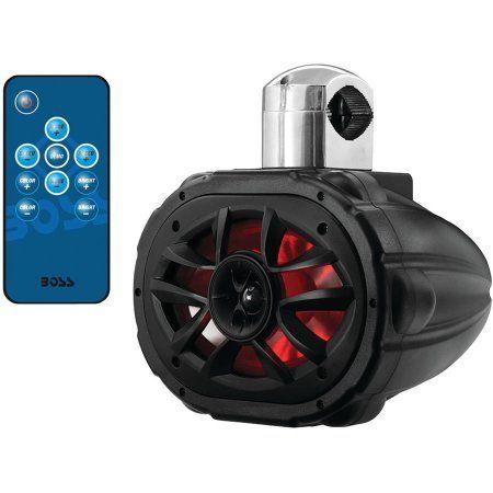 Boss Mrwt69rgb 6 inch x 9 inch 600-Watt 4-Way Marine Wake Tower Speaker with RGB LED Lights, Black
