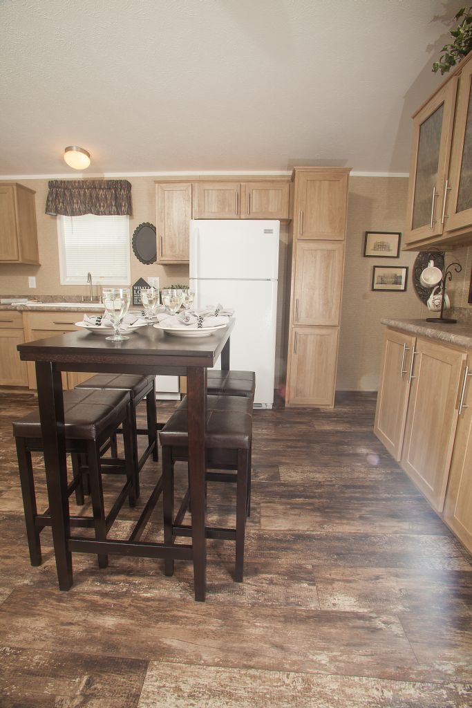 Commodore Homes of Pennsylvania - 1A133A  - Astro Single Section - Dirftwood Cabinet Kitchen, with great cabinet storage and nice built-ins!