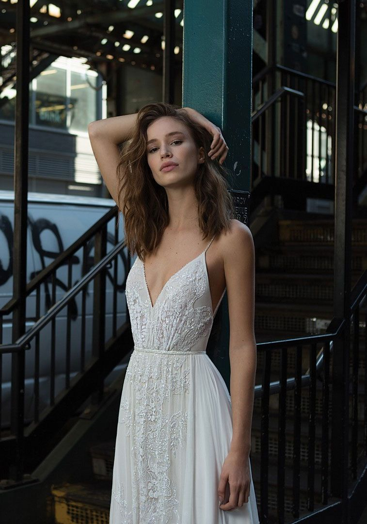 Spaghetti straps v neck open back a line Wedding Dress #wedding #weddingdress #weddinggown #bridedress