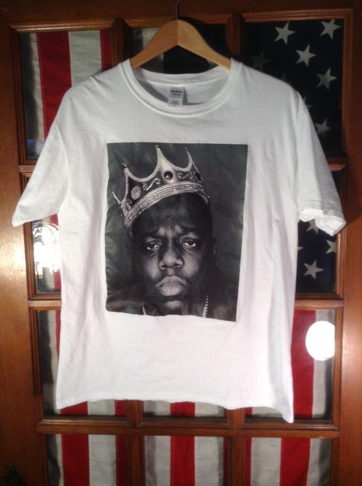 c5d5d56c BIGGIE SMALLS NOTORIOUS B.I.G WHITE & Black Crown Rap TEE T-SHIRT Adult  Large #Gildan #ShortSleeve
