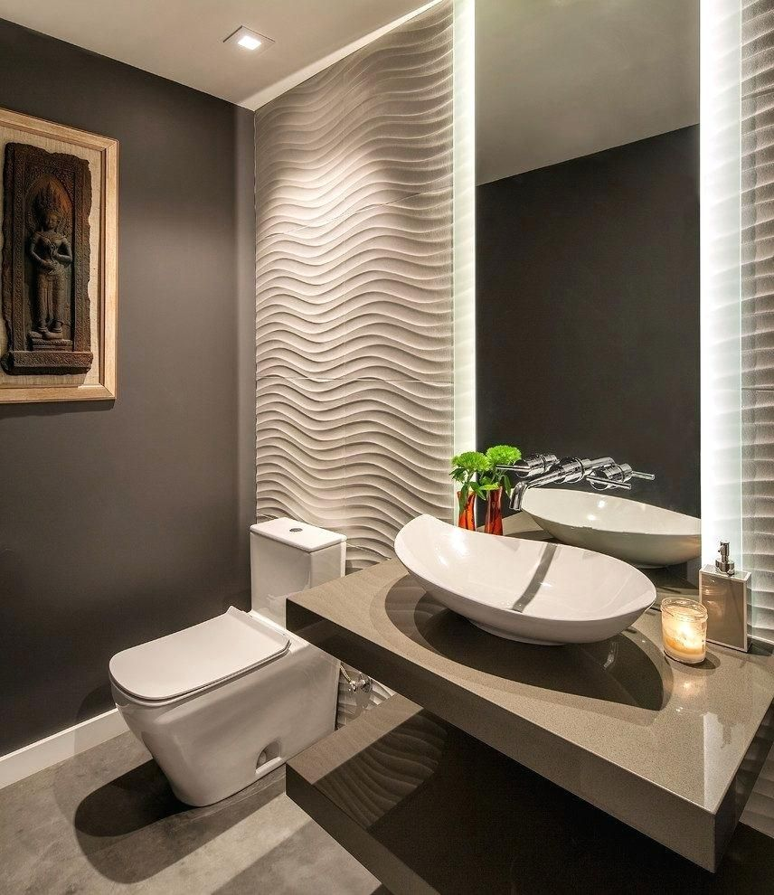 Powder room ideas contemporary with lighting ceramic Toilet room design ideas