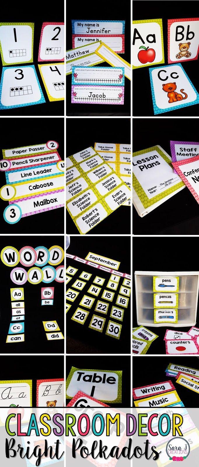 Classroom Decor - Bright Polkadot Fun! #elementaryclassroomdecor