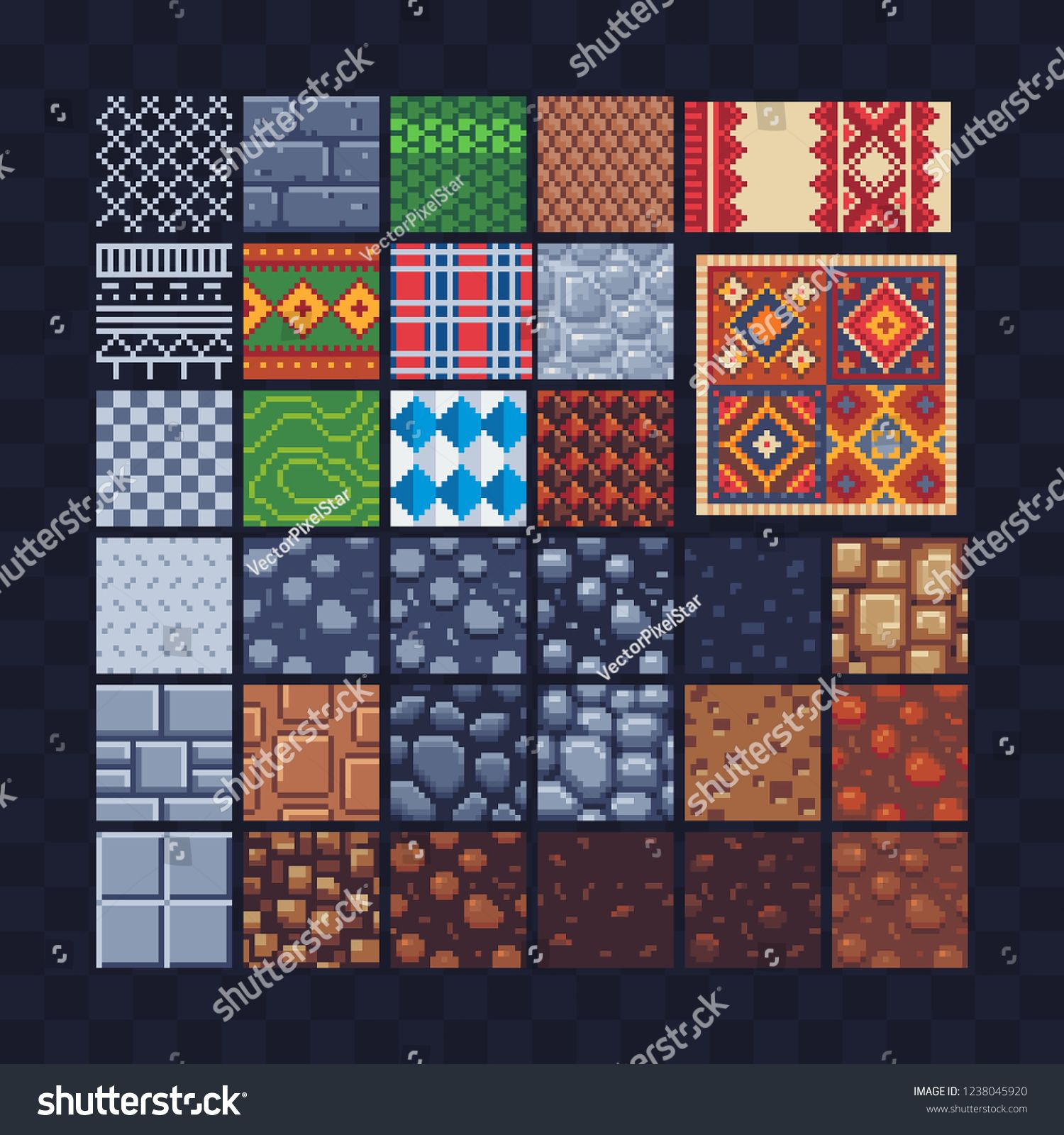 Different Texture Tile Seamless Pattern Set For Pixel Art Style