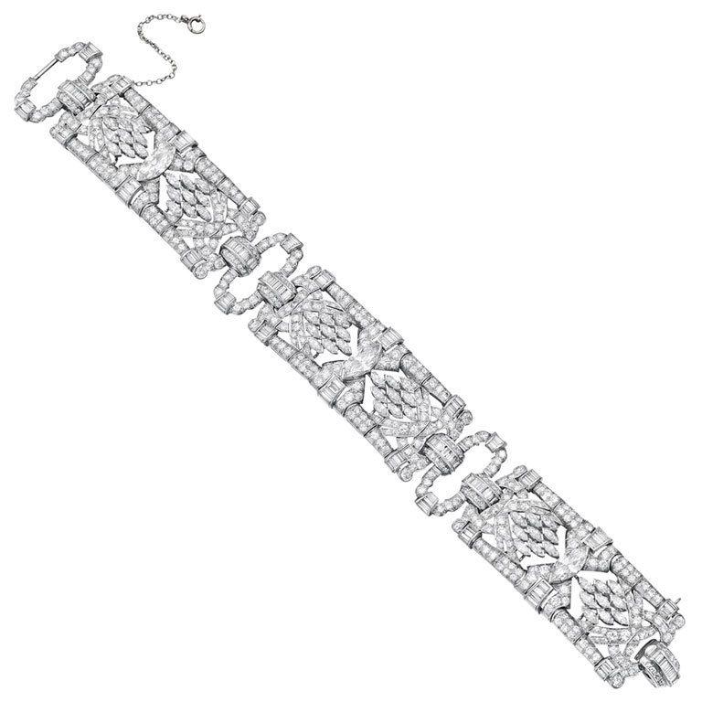 Marquise Shaped Diamond Cluster Panel Bracelet