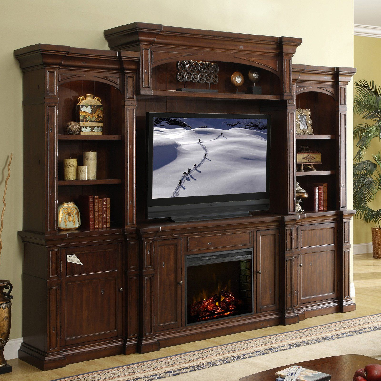 Cheap legends furniture cambridge fireplace media center in cherry - Legends Berkshire Entertainment Center Old World Umber From Hayneedle Com Legends Furnitureentertainment Wallfireplace
