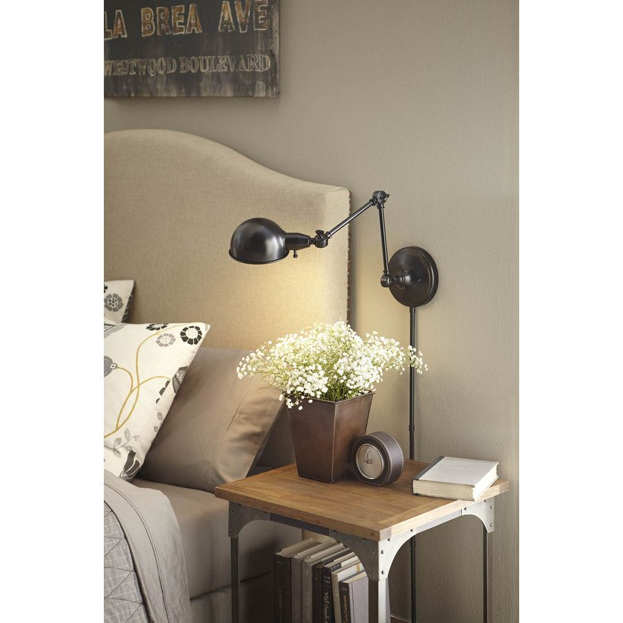 Wall Lamps At Lowes : Shop allen + roth 18.5-in H Bronze Swing-Arm Wall-Mounted Lamp with Metal Shade at Lowes.com ...