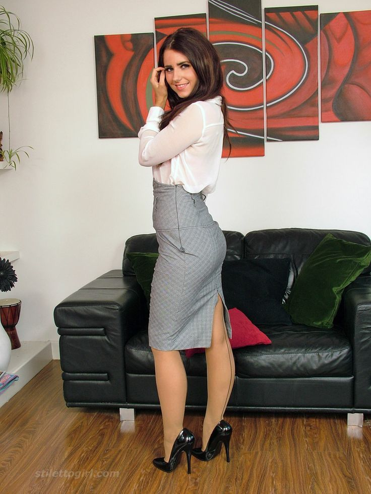 Gray High Waist Pencil Skirt White Blouse And Black