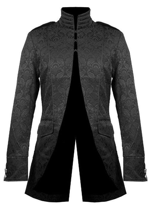 photo n°1   Veste gothique homme en tissu brocarde noir  f5ac5f9c808