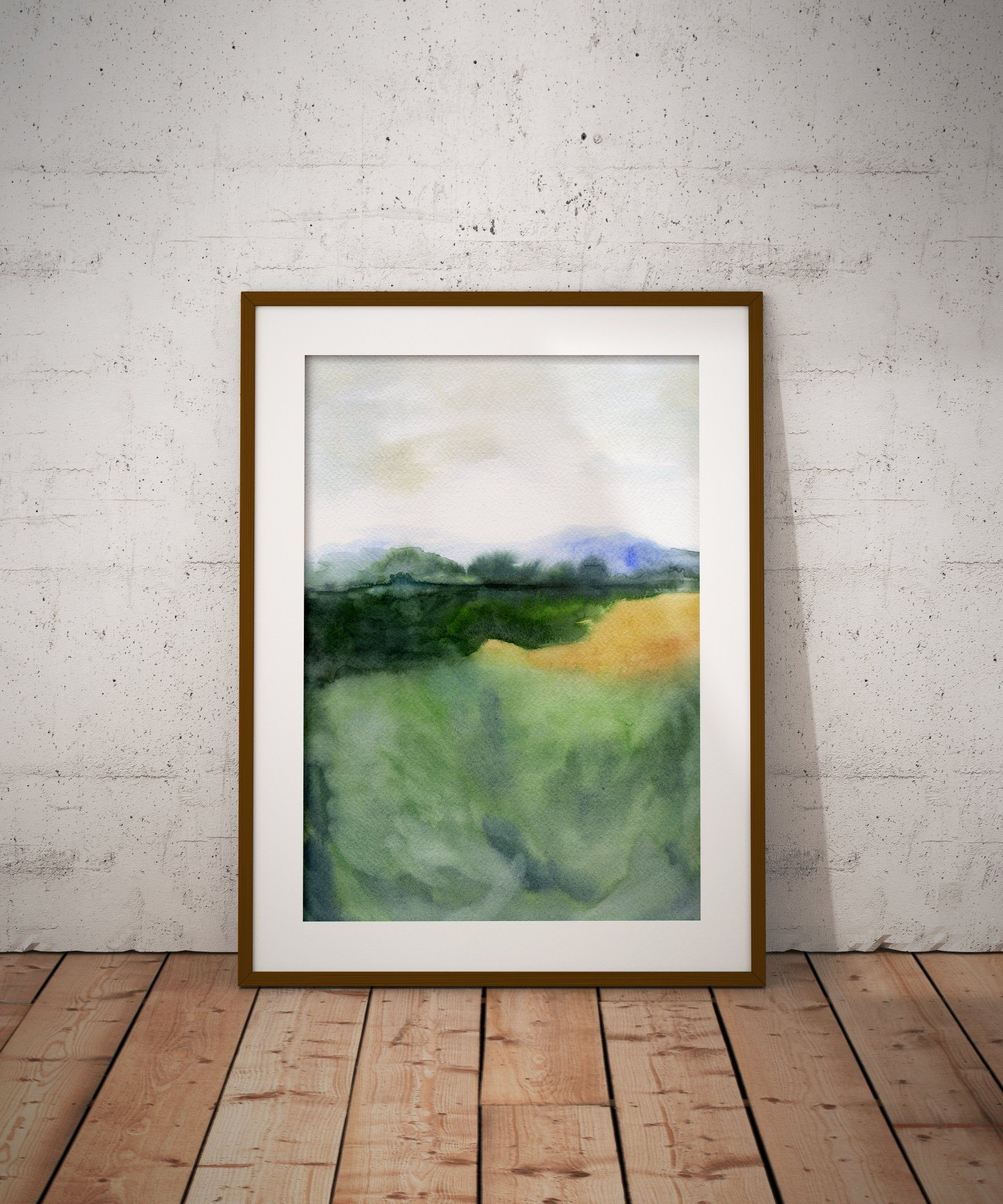 Smoky Mountains Watercolor Painting Print Mountains Print