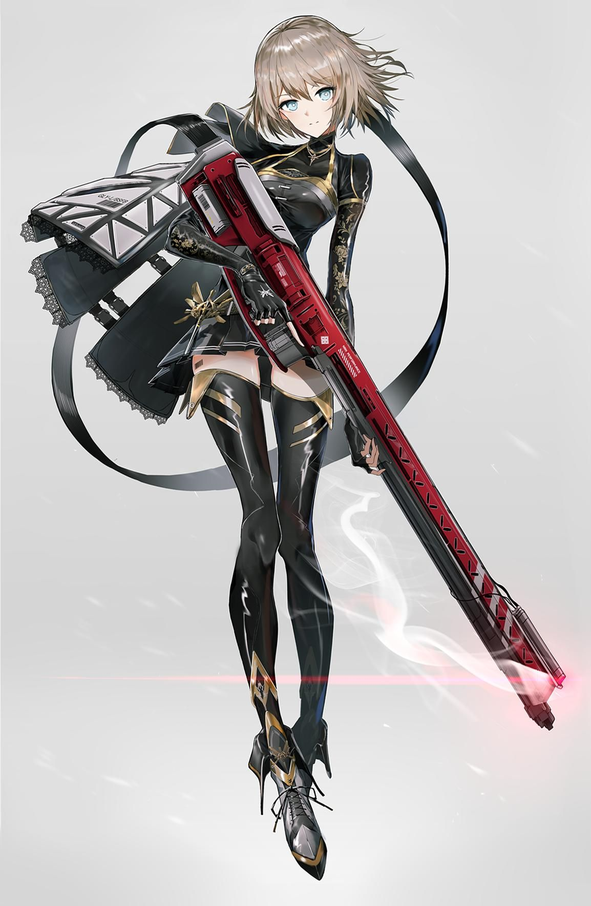 Sniper railgun [Original] Gunime Anime military, Anime