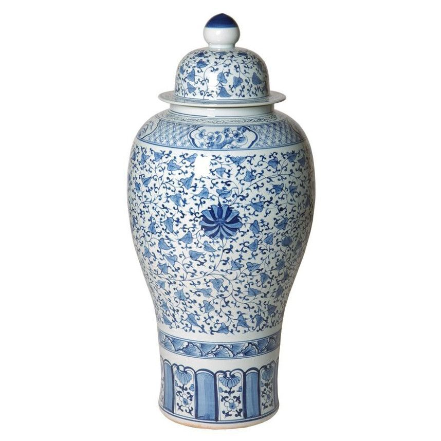 Large Chinese Peony Chinoiserie Jar - Blue & White