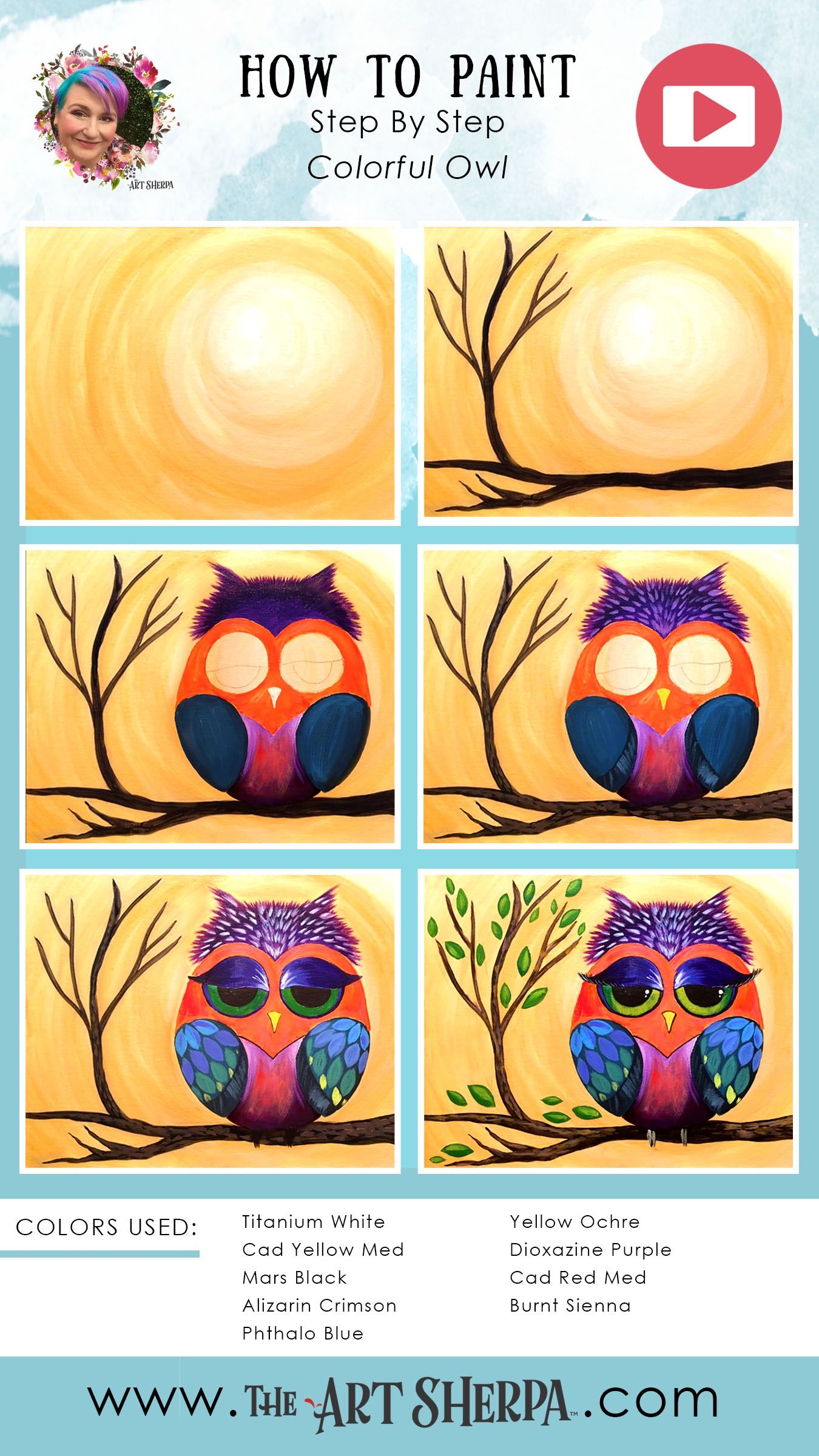 How To Paint A Colorful Owl Step By Canvas Painting Lessons Art Projects