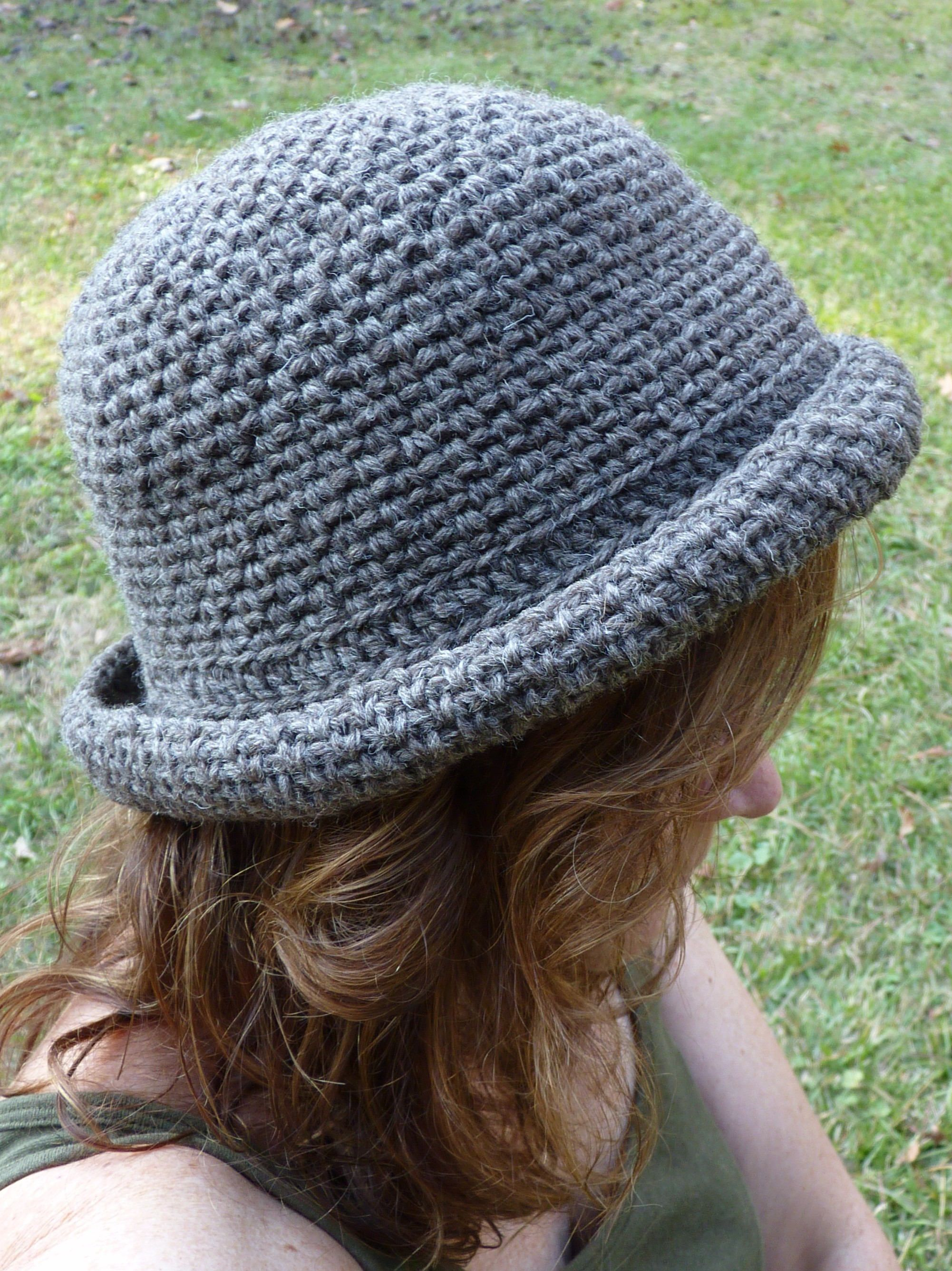 Sojourner s Brown Wool Crochet Bowler Hat by SojournersYarn on Etsy ... 88e08fd5a5a