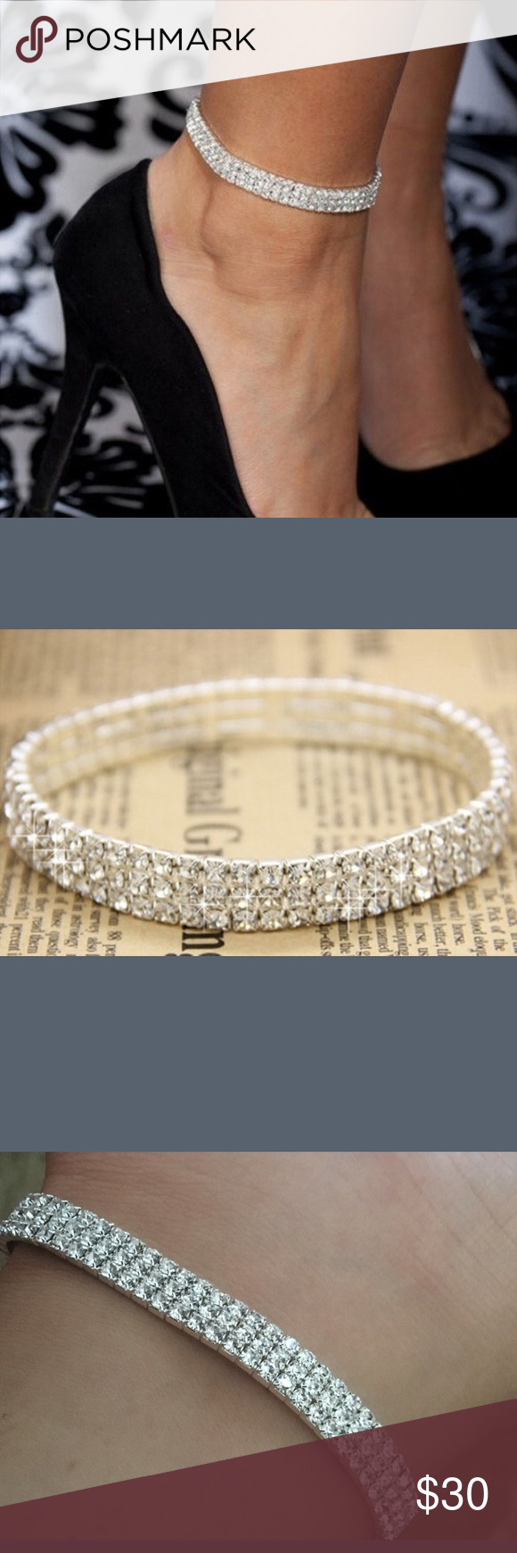 dp silver com imitation tone diamond anklet gl sizes rhinestone all ankle tennis bracelet for handmade amazon