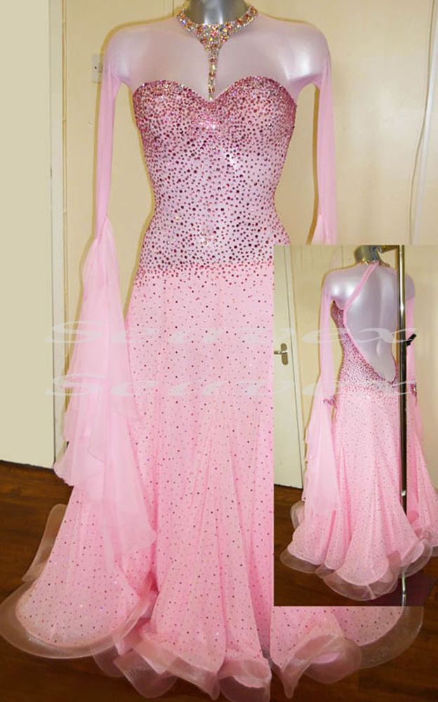 9ead1c400d0a9 Women Smooth Ballroom Waltz Tango Dance Dress US 4 UK 6 Two Pink Sliver  Color