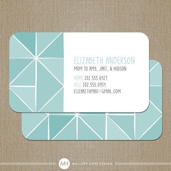 Geometric business card calling card mommy card contact card mom geometric business card calling card mommy card set of 100 malloryhopedesign 4800 colourmoves