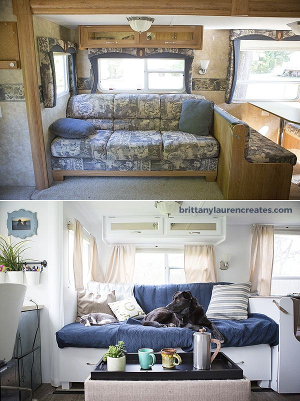 before and after custom camper couch things i like pinterest caravane camping et mini. Black Bedroom Furniture Sets. Home Design Ideas