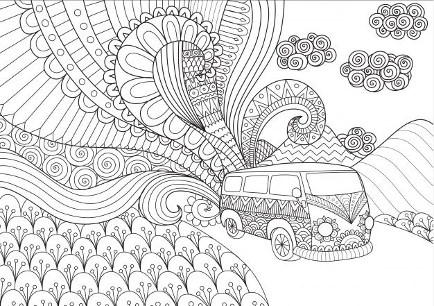 Hand Drawn Van Background Free Vector Designs Coloring Books Line Art Design Coloring Books